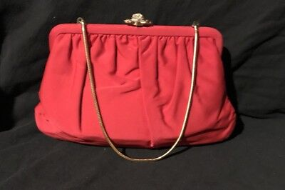 Vintage Red INGBER Purse Clutch W/Gold Chain Strap & Jewel Clasp!