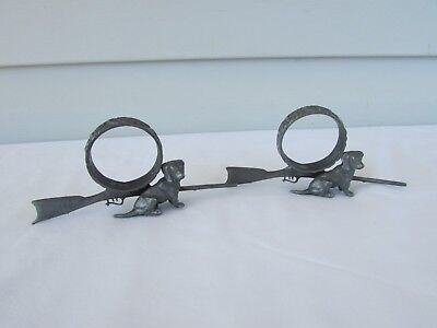 Pair Antique/ Victorian PEWTER FIGURAL Napkin Rings Dogs Rifles/ Shotguns