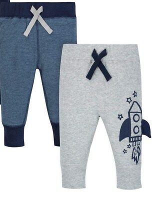 Gerber Baby Boys 2 Pack Organic Cotton Pants NEW Various Sizes Cute Rockets