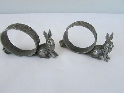 Pair Antique/ Victorian PEWTER FIGURAL Napkin Bunny/ Rabbits w Egg Baskets