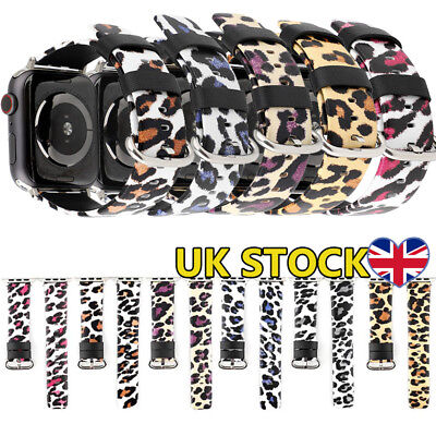 38/42mm Genuine Leather Leopard Printed Watch Strap Band For Apple iWatch 4/3/2