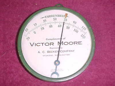 vintage 1940's? ADVERTISING THERMOMETER   A.C. BECKEN CO. victor moore SPOKANE