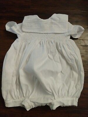 Will'Beth White Smocked bubble 9 months