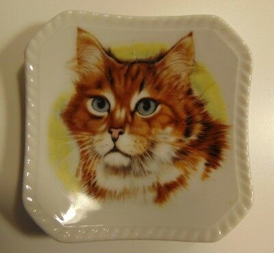 Vintage CM Chadwick Japan Tabby Cat Ceramic Trinket Jewelry Dish Tray
