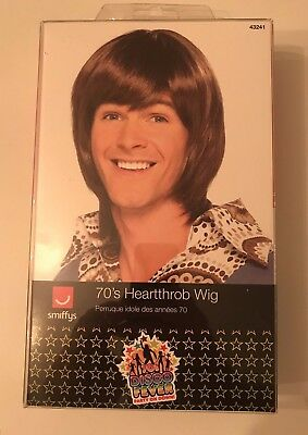 Wig 1970's Disco Heartthrob Brown Wig Adult Mens Smiffys Fancy Dress Costume