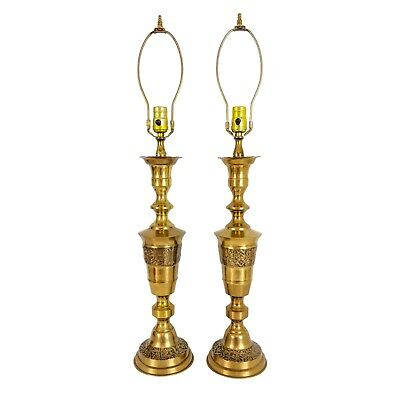 Pair Vintage Asian Chinese Brass Candlestick Lamps Mid-Century Hollywood Regency