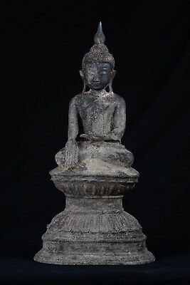 19th Century Burmese Ava Style Bronze Enlightenment Buddha Statue - 42cm/17""