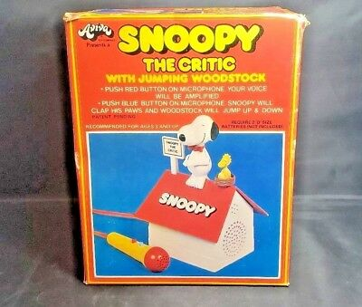 Snoopy the Critic w/ Jumping Woodstock Aviva toy Microphone w/ box