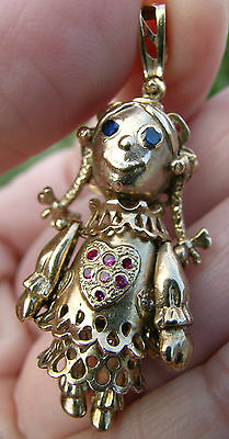 """12gr 9K solid Gold Accentuated Girl Pendant 1 7/8"""" Saphire Ruby Diamond"""