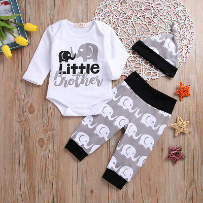 0-24M Baby Boy Little Brother Clothes Romper Jumpsuit Tops+Pants+Hat Outfits Set