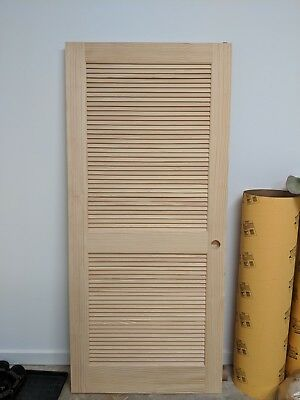 """NEW - Solid Pine Louvered Slab Interior Doors 80"""" H x 36"""" W x 1.38"""" D"""