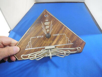 1937 NU-DELL MFG Tie Rack with Style Chart Wall Mount Retro
