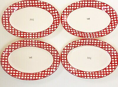 Rae Dunn ● Red Checkered ● Artisan ● Oval Snack Plates ❉ Yum ❉ Snack =4Pc