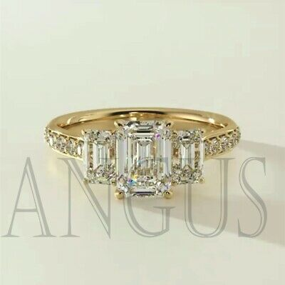 14K Solid Yellow Gold 3.66ct Forever Emerald Anniversary Engagement Ring