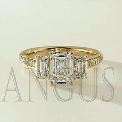 3.66 Ct Emerald Cut Engagement Wedding Ring Real Solid 14K Yellow Gold