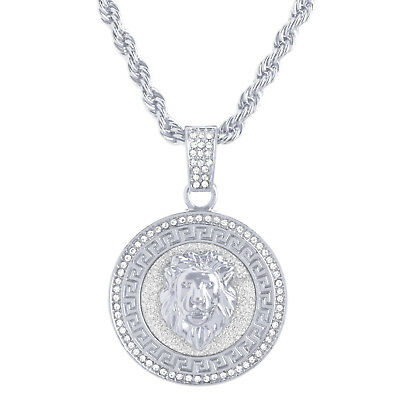 Lion Head Large Pendant Men's Iced Silver Tone 30 inch Chain Necklace HC 5078 S