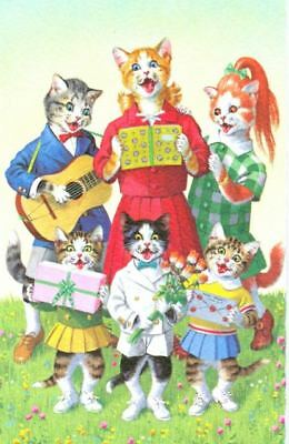Vintage Comic Postcard Cats Singing Belgium Looks Like Mainzer! 1960s