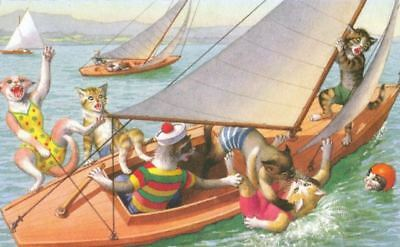 Vintage ALMA Mainzer Comic Postcard 4994 Cat Chaos on Sailboat <VBG>
