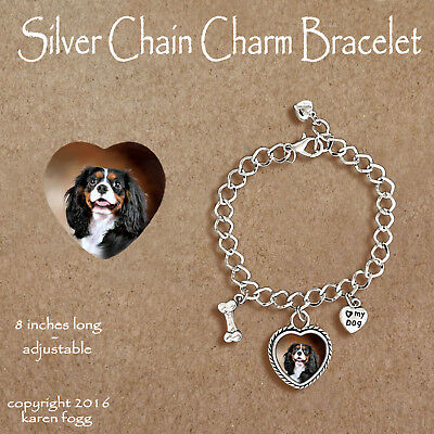 CAVALIER KING CHARLES SPANIEL Tri Color -  CHARM BRACELET SILVER CHAIN & HEART