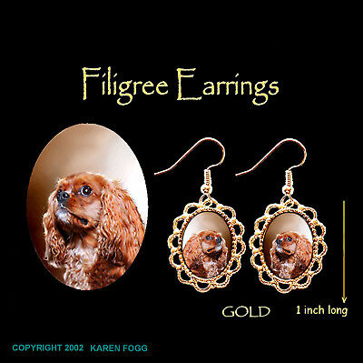 CAVALIER KING CHARLES SPANIEL Ruby - GOLD FILIGREE EARRINGS Jewelry