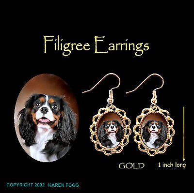 CAVALIER KING CHARLES SPANIEL Tri Color - GOLD FILIGREE EARRINGS Jewelry