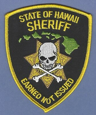Hawaii State Sheriff Police Patch Skull