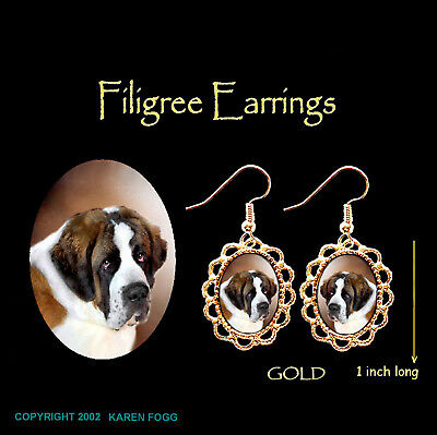 SAINT BERNARD DOG  - GOLD FILIGREE EARRINGS Jewelry