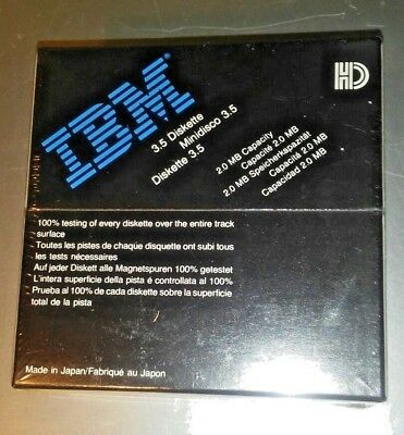 IBM Diskettes brand hd double sided 3.5~ 2.0 MB capacity box of 10 new