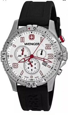 Wenger Swiss Army 77050 Squadron Chrono Men's Black Rubber Watch Brand New