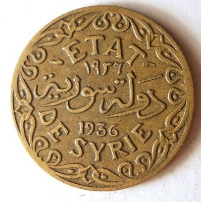 1936 SYRIA 5 PIASTRES - VERY Hard to Find Islamic Coin - Lot #N20