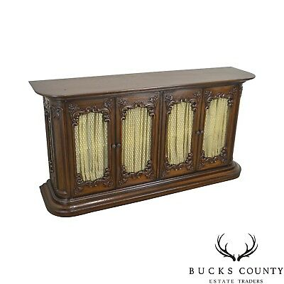 French Country Vintage Carved Narrow Credenza Display Console Sideboard