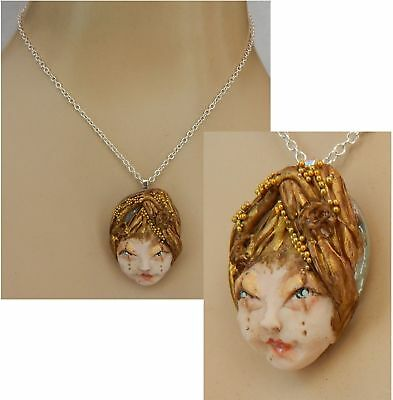 Necklace Tree Fairy Face Pendant Jewelry Handmade Hand Sculpted NEW Woodland