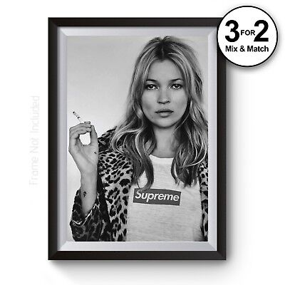 Kate Moss Supreme Smoking Photography Wall Art Print - 100% Cotton Salon Art