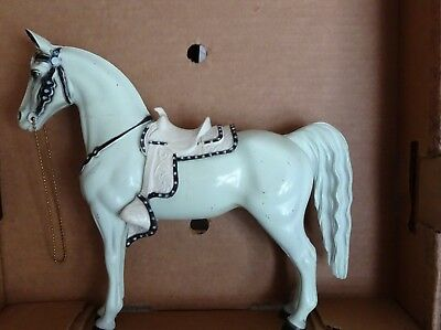 VINTAGE 1900's HARD White PLASTIC HORSE W/REMOVEABLE SADDLE, UNKNOWN MAKER