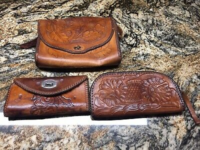 3 VTG Hand-made Hand-tooled Leather ,1 Purse, 1 Zipper Pouch , 1 Wallet Boho