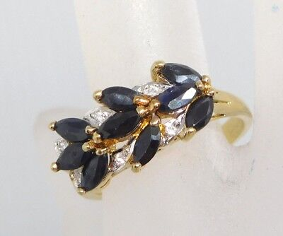 Vintage 925 Gold Overlay Sterling Silver Sapphire Cluster Ring sz 8.5 (3.3g)#691