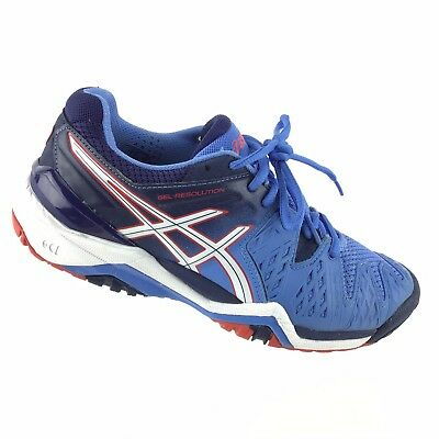 Asics Womens 7 Gel Resolution Tennis Running  Lace Ups Blue Red White Shoes R5S7
