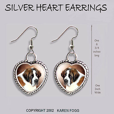 SAINT BERNARD DOG - HEART EARRINGS Ornate Tibetan Silver