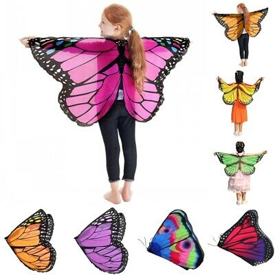 Kids Girls Fairy Butterfly Wings Costume Princess Shawl Cape Holloween Cloak New