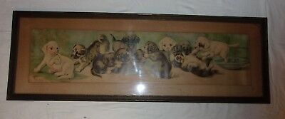 Antique C.L. Vredenburgh yardlong framed lithographed print of puppies playing