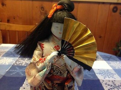 Vintage Japanese Geisha Doll Traditional Kimono w hand fan wood base 10.5 Inches