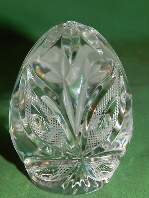 """Vintage, Clear Pressed, Cut Crystal Glass, Egg Shaped Paperweight 3 1/2"""""""