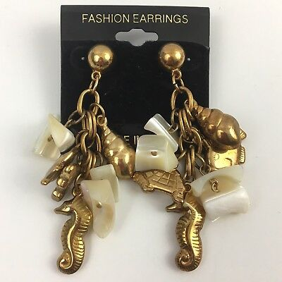 Vintage Nautical Dangle Earrings Mother of Pearl Shell Gold Tone Seahorse Fish