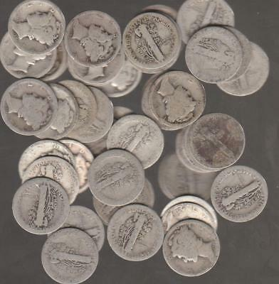 1 Roll (50) of Winged Liberty or Mercury Dimes, All Teen's & 20's - 90% Silver