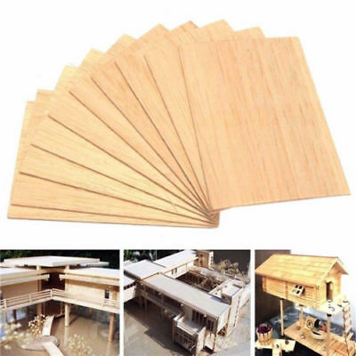 Wooden Plate Model Balsa Wood Sheets DIY House Ship Aircraft 100x100x2mm 10pcs