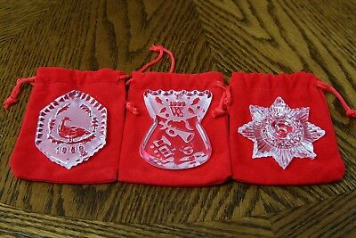 Waterford Crystal Christmas Ornaments Damaged Lot of 3 1989, 1999, 2017
