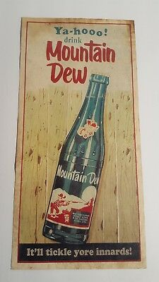 Vintage Original Mountain Dew Store Advertising Sign / Insert Paper