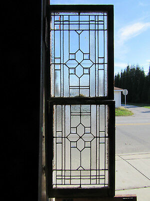 ~ Antique Stained Glass Windows Bevels ~ Double Hung Set ~ Architectural Salvage