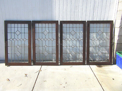 ~ Set Of 4 Leaded Stained Glass Cabinet Doors In Oak~ 28 X 48 Each ~ Salvage ~