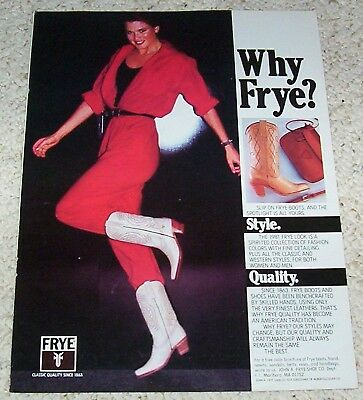 1982 vintage ad - Frye Cowboy Western Boots CUTE Girl boots PRINT AD